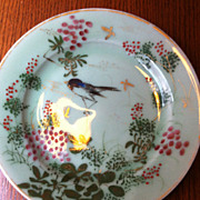 Celadon plate with bird