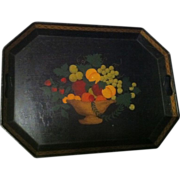 Hand Painted Primitive Style Fruit in Basket Tole Tray