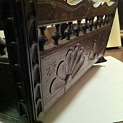 Hand Carved & Stamped French Antique Doll's Cradle