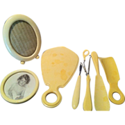 REDUCED Assembled Set of Celluloid Dresser Pieces with Mirror & Frame