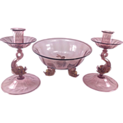 Venetian/Murano Glass Three Piece Console Ensemble Set
