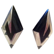 REDUCED Modern Taxco Sterling Silver Onyx Clip-on Earrings TC-190