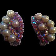 SALE Kramer Faux Pearl AB Clip-On Earrings