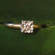 15 Point Diamond Solitaire 14 K Setting Gold Ring