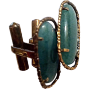 14K Gold Cuff Links with Green Stones