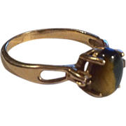 10K Gold Tigers Eye & Diamond Ring