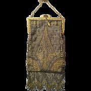 Steel Cut Silver & Gold Beaded Deco Purse Hand Bag