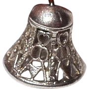 Signed Wells Sterling Silver Wedding or Christmas Bell Charm