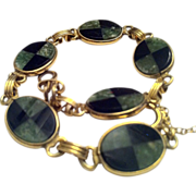 Black & Green Onyx Inlaid Gold Filled Bracelet