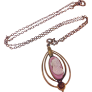 REDUCED Pink & White Molded Glass Cameo Lavaliere By Austin & Stone