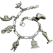 REDUCED Sterling Silver Charm Bracelet on Figaro Link Chain