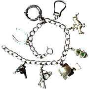 REDUCED Sterling Silver Horse Related Charm Bracelet