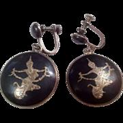 SALE Vintage Siam Sterling Black Niello Mekkala Screw-back Drop Earrings