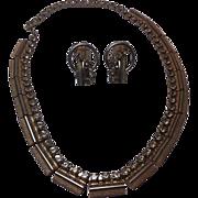 SALE Vintage Kramer Rhinestone Choker Necklace Clip On Earrings