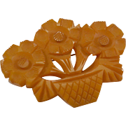 Carved Butterscotch Bakelite Basket of Flowers Pin/Brooch