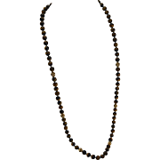 "30"" 14K Yellow Gold Tiger's Eye Bead Lariat Necklace"