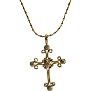 14K Yellow Gold Cross & Chain with Diamonds