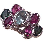 14K White Gold Pink & Green Tourmaline Ring