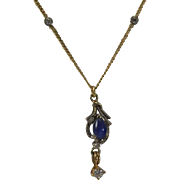14K White/Yellow Gold Linde Star Sapphire & Diamond Pendant/Necklace