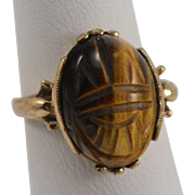 10K Yellow Gold Tiger's Eye Carved Scarab Ring