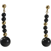 14K Black Onyx Dangle Bead Earrings