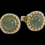14K Gold and Jade Earrings