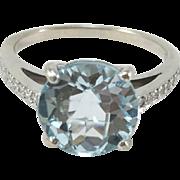 Light Blue Topaz 18K White Gold Ring with Diamonds Sz 8.25