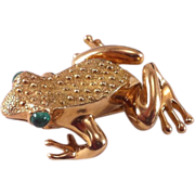 Tiffany & Co 18K Frog Pin/Brooch with Cabochon Emerald Eyes