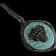835 Silver Guilloche Enamel & Marcasite Pendant & Long Chain