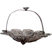 Lovely Doll's Silver Filigree Handled Basket