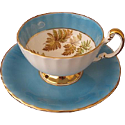 Aynsley England Turquoise Footed Cup and Saucer # C 1286