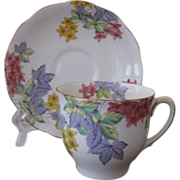 Vintage Bell China Flat Cup and Saucer Pattern 3878