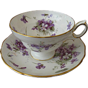 Hammersley England Victorian Violets Footed Cup and Saucer