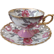 Sterling China Co. Japan Footed Cup and Pierced Edge Saucer