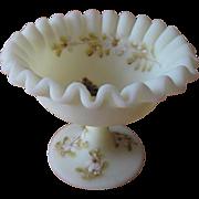 Fenton Hand Painted Nut Dish Yellow Custard Satin Signed L. McMullen