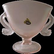 Fenton Velva Rose Iridescent Stretch Glass Dolphin Handled Fan Vase