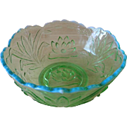 "Fenton Waterlily & Cattails Green Opalescent 8"" Bowl"
