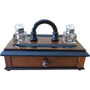 Victorian English Walnut Double Stand Inkwell c.1885