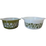 Vintage Pyrex Spring Blossom Casseroles #473 and #474-B