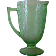 SALE Indiana Green Depression Glass #612/Horseshoe Pattern Pitcher
