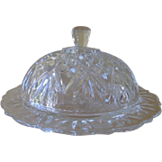 Vintage Anchor Hocking Prescut Clear Pineapple Round Butter Dish