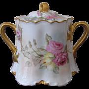 Antique Haviland & Co. Limoges Hand Painted Porcelain Sugar Bowl