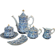 Lefton Blue Paisley Coffee Set with Jam/Jelly and Bone Dish