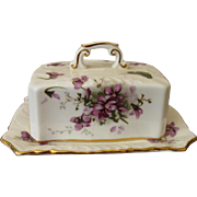 Hammersley England Victorian Violets Rectangular Covered Butter Dish