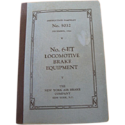 SALE Vintage 1944 Instruction Pamphlet #6-ET Locomotive Brake Equipment