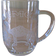 Vintage Camel Cigarettes Advertising Etched Glass Beer Mug