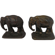 Pair of Cast Iron Bronze Finish Elephant Bookends c.1920