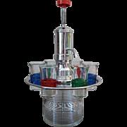SALE Vintage Brandy Pump Chrome and Glass Revolving Shot Glass Tray