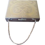 Vintage Zell Fifth Avenue Gold Tone Purse Compact with Chain Handle