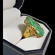 SALE Rare, vintage, Chinese 22k gold and natural jade dragon ring